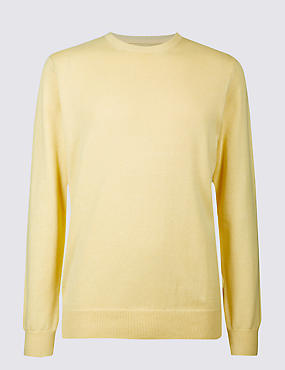 Pure Cotton Crew Neck Jumper, SOFT YELLOW, catlanding