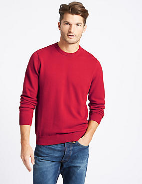 Pure Cotton Crew Neck Jumper, RUBY, catlanding
