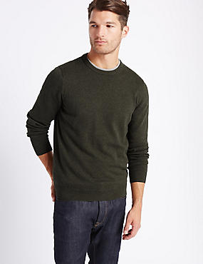 Pure Cotton Crew Neck Jumper, DARK GREEN MIX, catlanding