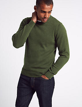 Pure Cotton Crew Neck Jumper, KHAKI, catlanding