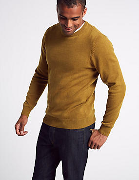 Pure Cotton Crew Neck Jumper, COPPER TAN, catlanding