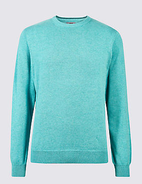 Pure Cotton Crew Neck Jumper, SOFT TURQUOISE, catlanding