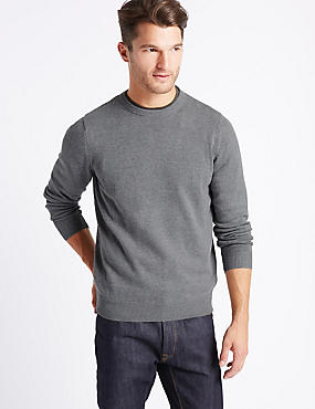Pure Cotton Crew Neck Jumper, MEDIUM GREY, catlanding