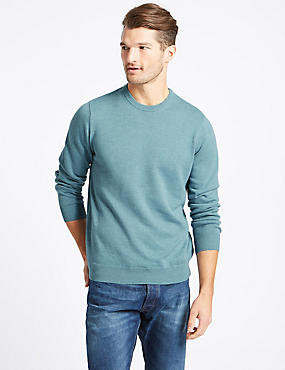 Pure Cotton Crew Neck Jumper, SMOKEY BLUE, catlanding