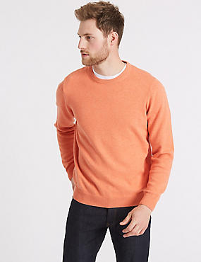 Pure Cotton Crew Neck Jumper, SOFT ORANGE, catlanding