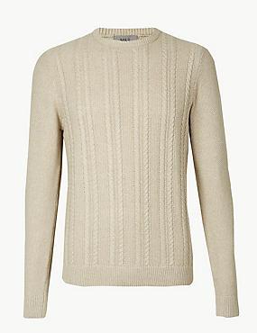Pure Cotton Cable Knit Jumper, NEUTRAL, catlanding