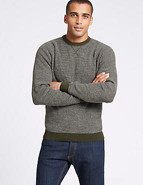 Pure Cotton Textured Jumper, KHAKI MIX, catlanding