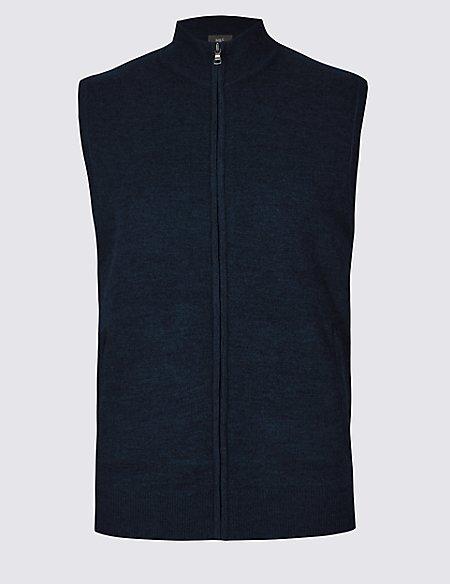 Merino Wool Blend Textured Gilet