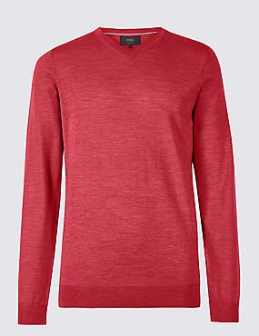 Pure Merino Wool V-Neck Jumper, ROSE, catlanding
