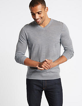 Pure Merino Wool V-Neck Jumper, BLUE/GREY, catlanding