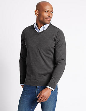 Pure Merino Wool V-Neck Jumper, GREY MARL, catlanding