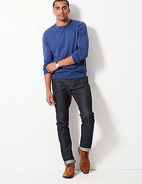 Pure Merino Wool Crew Neck Jumper, DENIM, catlanding