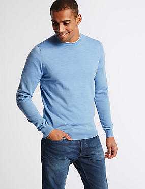 Pure Merino Wool Crew Neck Jumper, ICE BLUE, catlanding