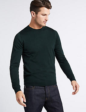 Pure Merino Wool Crew Neck Jumper, DARK EVERGREEN, catlanding