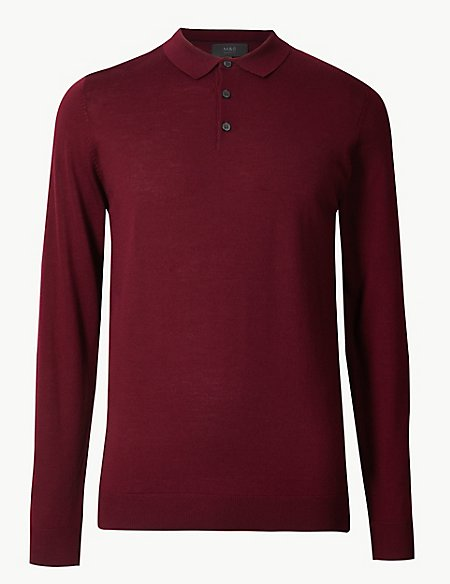 Pure Extra Fine Merino Wool Knitted Polo
