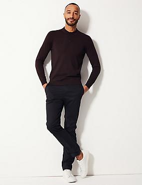 Pure Merino Wool Knitted Polo, AUBERGINE, catlanding