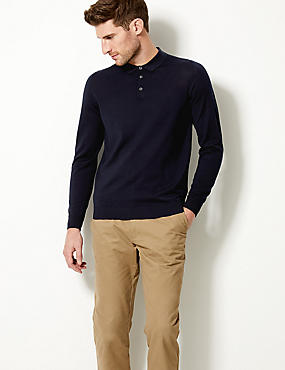 Pure Merino Wool Knitted Polo, , catlanding