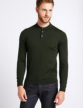 Pure Extra Fine Merino Wool Knitted Polo, DARK GREEN, catlanding