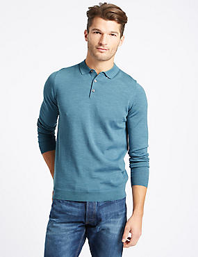 Pure Merino Wool Polo Shirt, SMOKEY BLUE, catlanding
