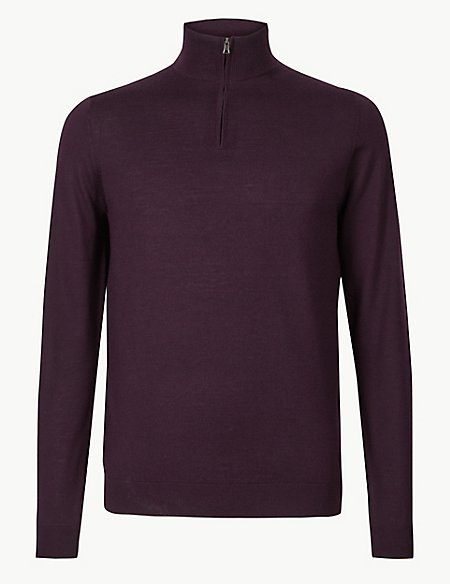 Pure Merino Wool Half Zipped Jumper