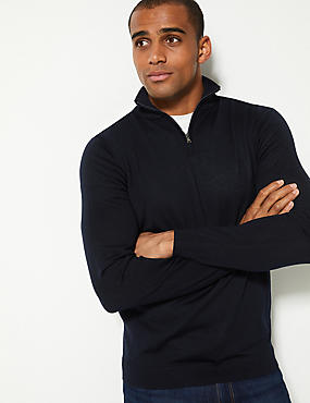 Pure Merino Wool Half Zipped Jumper, NAVY, catlanding