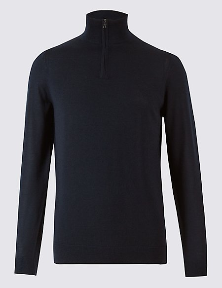 Pure Merino Wool Half Zipped Jumper