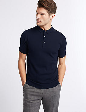 Pure Merino Wool Knitted Polo, NAVY, catlanding