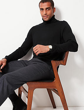 Pure Extra Fine Merino Roll Neck  Jumper, BLACK, catlanding
