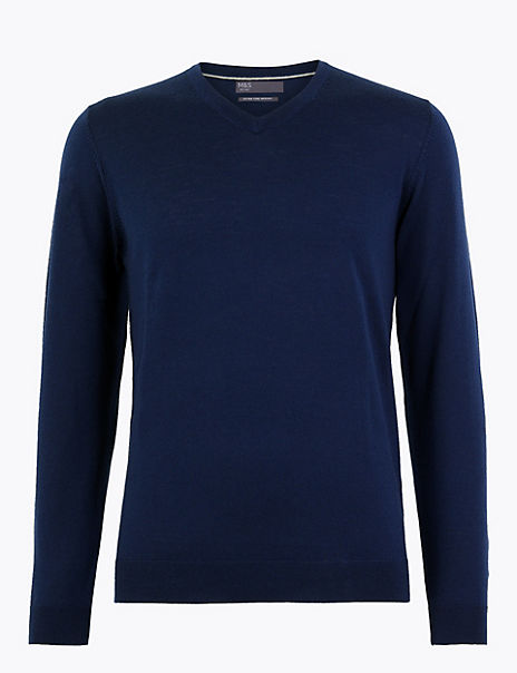 Pure Extra Fine Merino Wool V-Neck Jumper