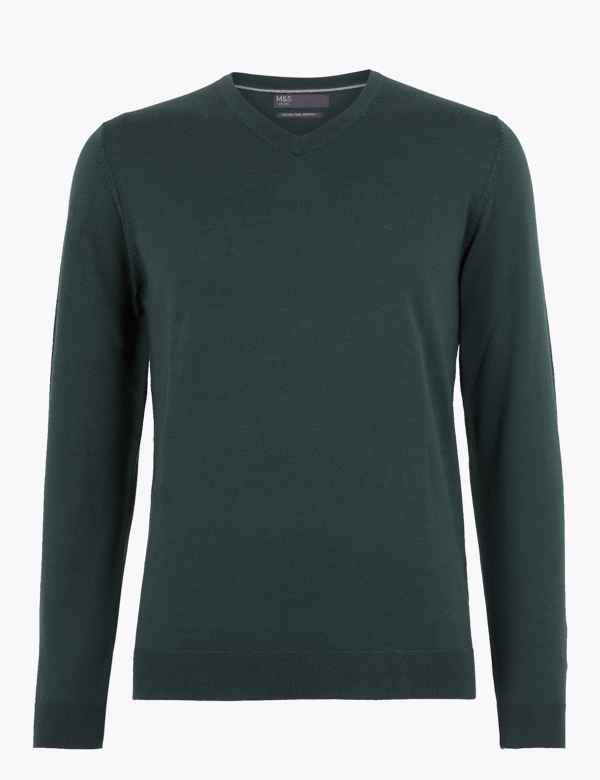 Pure Extra Fine Merino Wool V Neck Jumper | M&S Collection | M&S