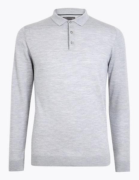 Pure Extra Fine Merino Wool Polo Shirt