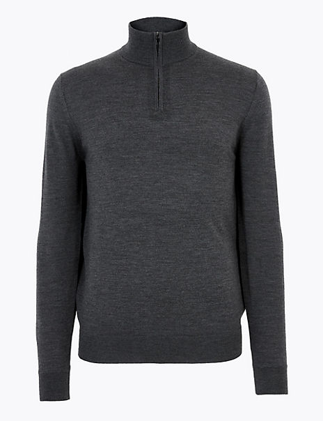 Pure Extra Fine Merino Wool Funnel Neck Jumper