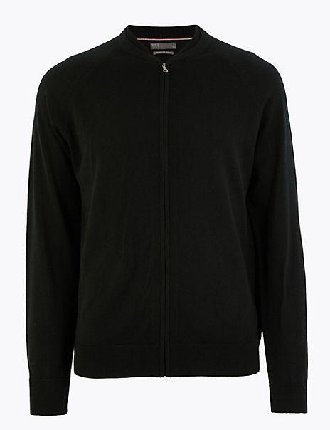 Pure Extra Fine Merino Wool Bomber Jacket