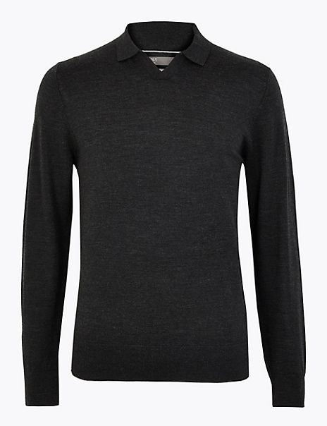 Pure Merino Wool Knitted Polo Shirt