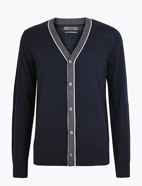 Pure Merino Wool V Neck Cardigan
