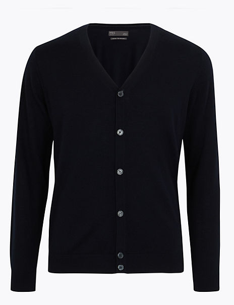 Pure Merino Wool V-Neck Cardigan