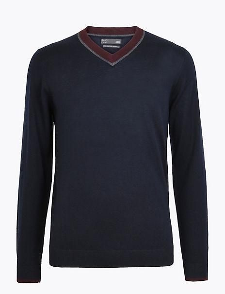 Pure Extra Fine Merino Wool V-Neck Jumper