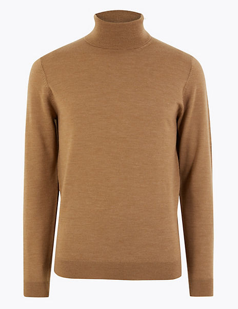 Pure Extra Fine Merino Wool Roll Neck Jumper
