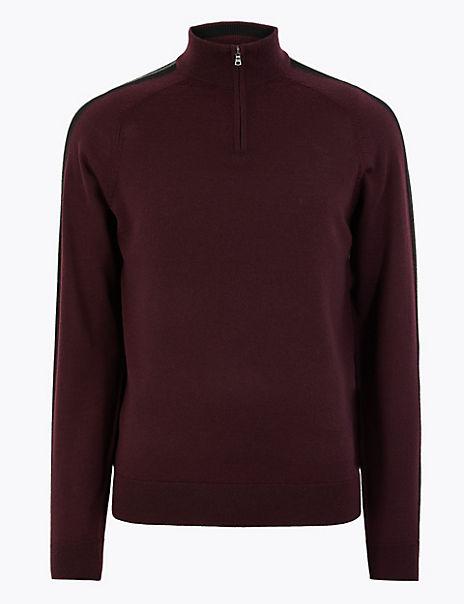 Pure Extra Fine Merino Wool Half Zip Jumper