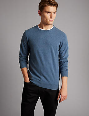 Pure Cashmere Crew Neck  Jumper, LIGHT BLUE, catlanding