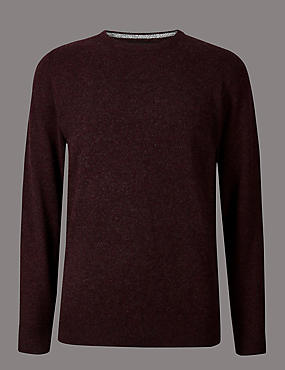 Pure Cashmere Crew Neck Jumper, DARK BERRY, catlanding