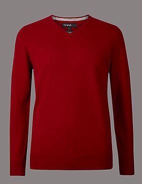 Pure Cashmere V-Neck Jumper, RED, catlanding