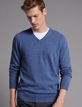 Pure Cashmere V-Neck Jumper, BLUE, catlanding