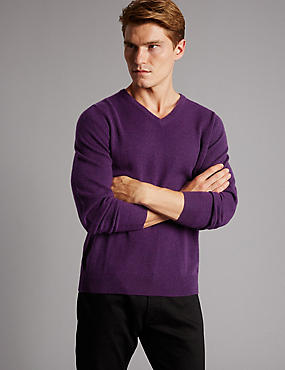 Pure Cashmere V-Neck  Jumper, BRIGHT PURPLE, catlanding