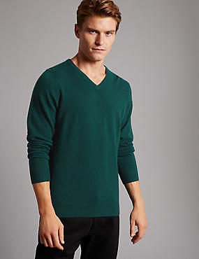 Pure Cashmere V-Neck  Jumper, DARK TEAL, catlanding