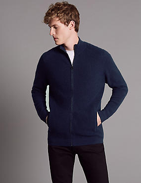 Pure Cashmere Ribbed Zip Through, NAVY, catlanding