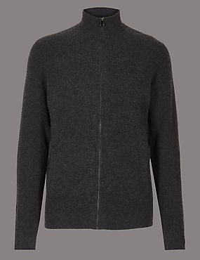 Pure Cashmere Textured Cardigan, GREY, catlanding