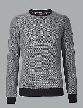 Merino with Cashmere Birdseye Jumper, NAVY MIX, catlanding