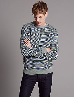 Pure Cashmere Striped Jumper , BLUE MIX, catlanding