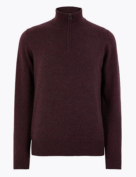 Pure Cashmere Half Zip Funnel Neck Jumper